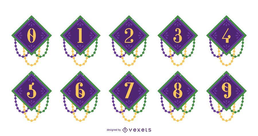 Conjunto de diseño de número de Mardi Gras
