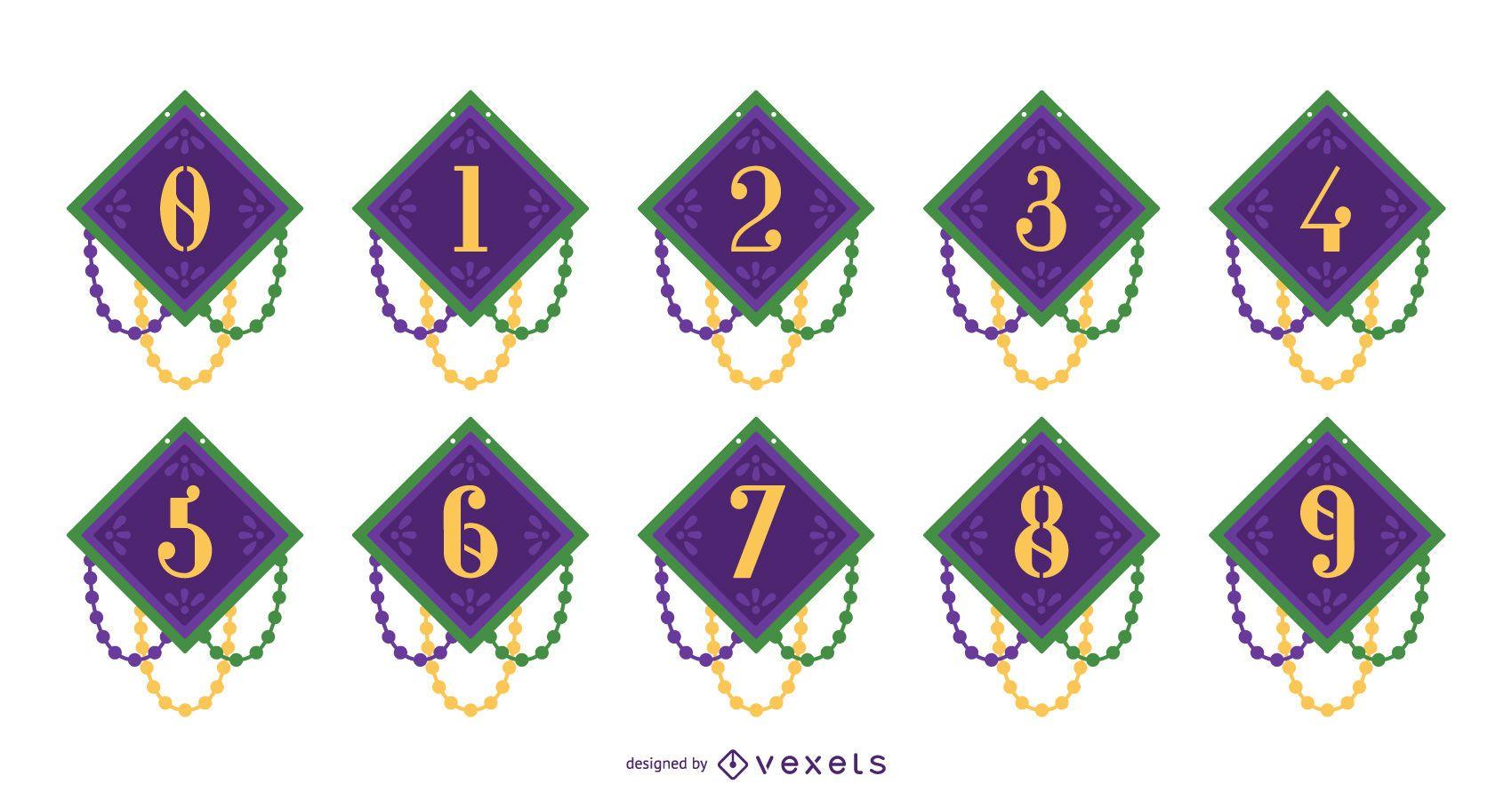 Conjunto de design de números do Mardi Gras