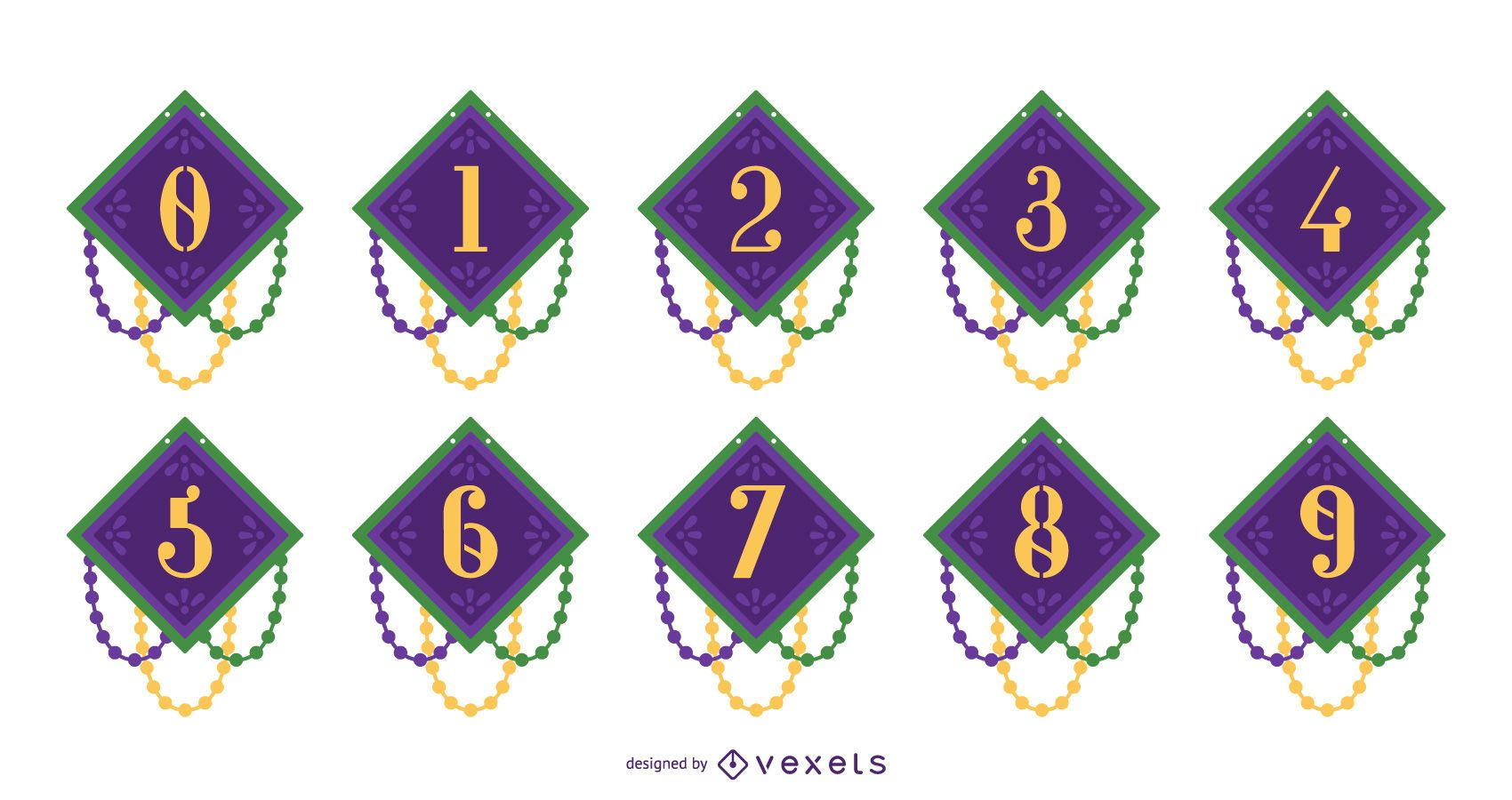 Mardi Gras Number Design Set
