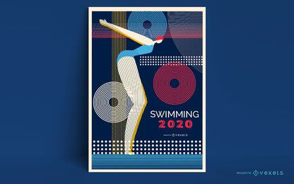 Diseño de carteles de natación de Tokio 2020