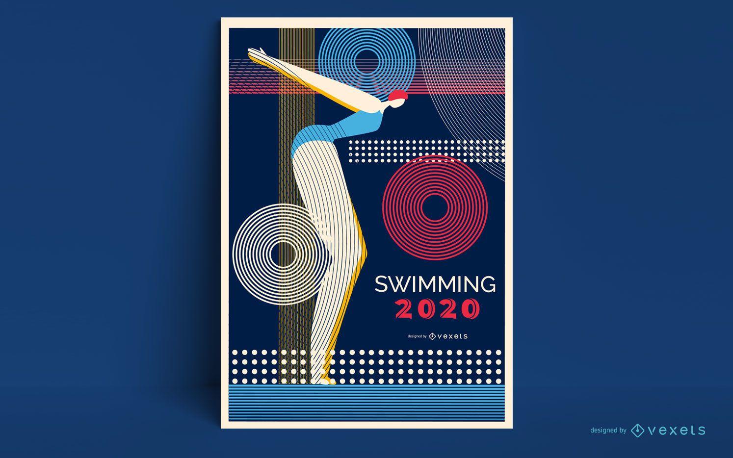 Diseño de cartel de natación de Tokio 2020