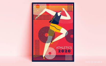 Design de cartaz de corredor de jogos olímpicos