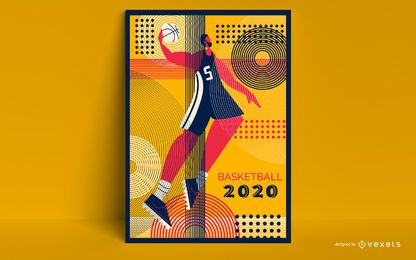 Diseño de cartel olímpico de baloncesto