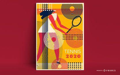 Design de cartaz de tênis Tóquio 2020