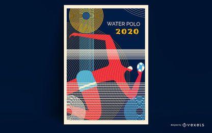 Design de cartaz de Tóquio 2020 de polo aquático