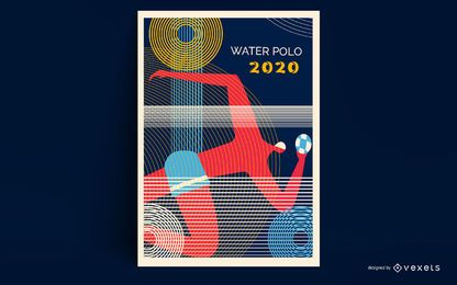 Diseño de carteles de waterpolo Tokio 2020