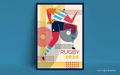 Design de cartaz de Tóquio 2020 de rugby