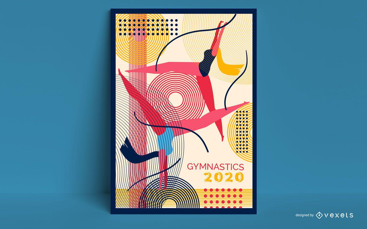 Diseño de carteles de gimnasia Tokio 2020