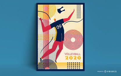 Design de cartaz de vôlei Tóquio 2020