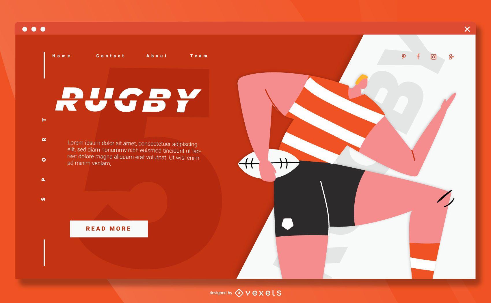 Diseño de página de aterrizaje de deporte de rugby