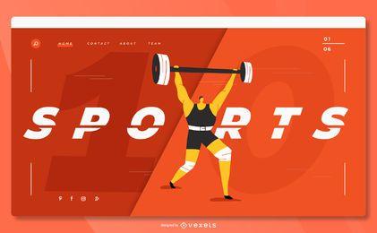 Página inicial do levantamento de peso esportivo