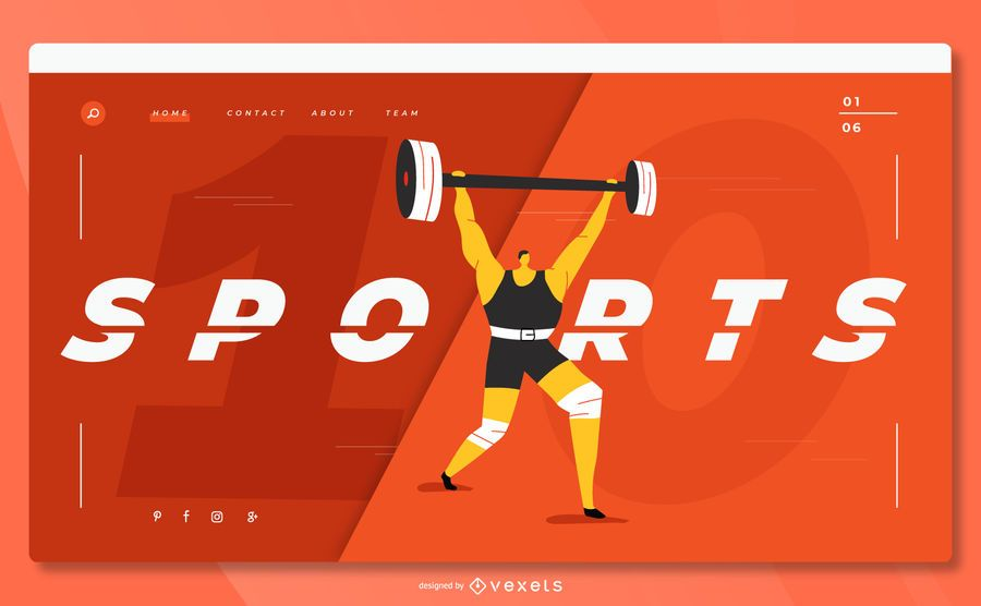 Sports weightlifting landing page