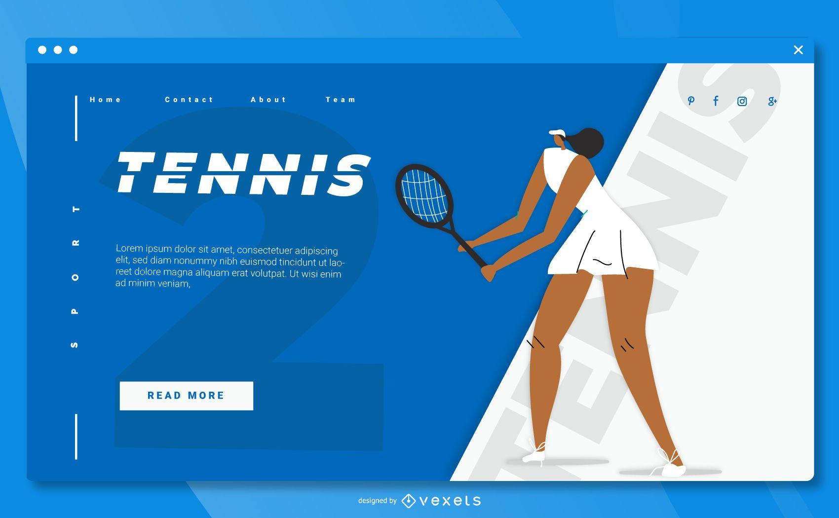 Diseño de página de inicio de deporte de tenis
