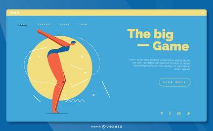 Diseño de página de aterrizaje de natación deportiva olímpica