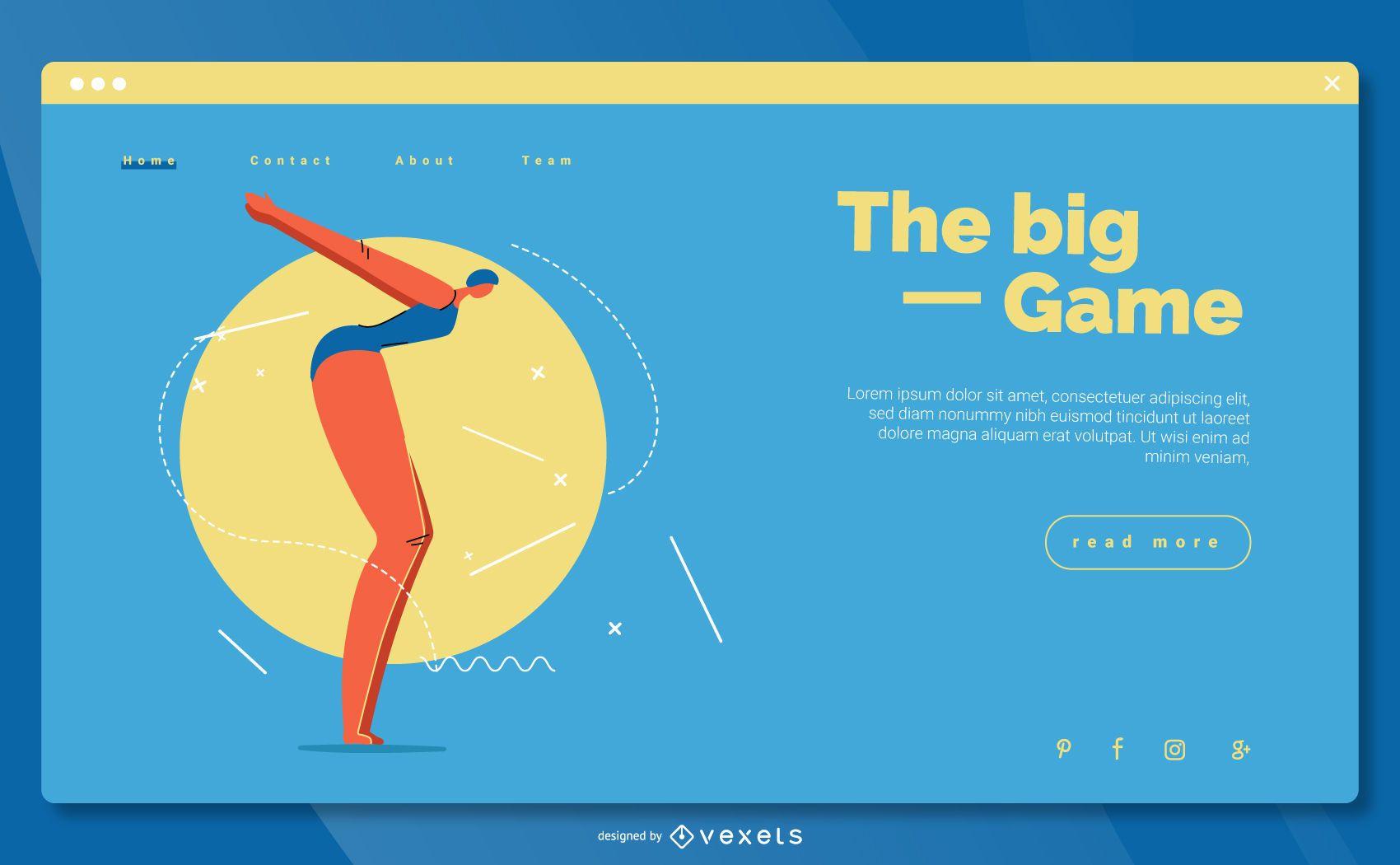 Diseño de página de aterrizaje de natación de deportes olímpicos