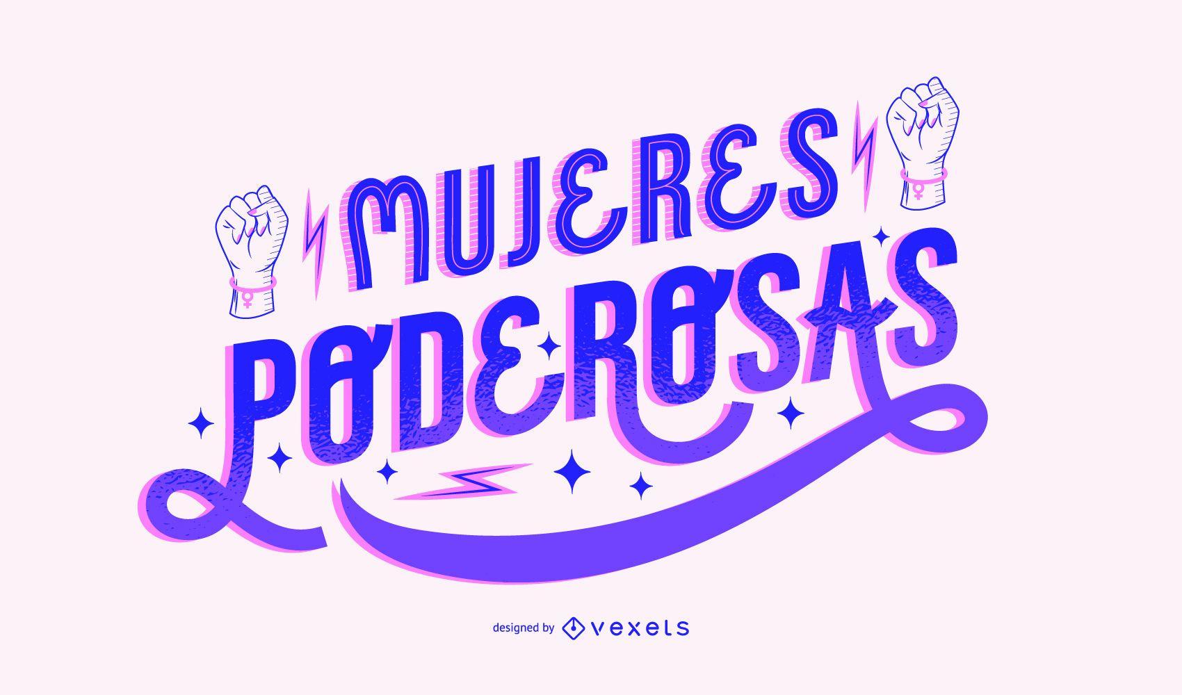 Women's power day spanish lettering