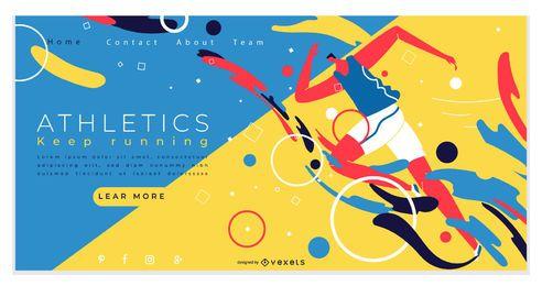Diseño de página de aterrizaje de atletismo deportivo