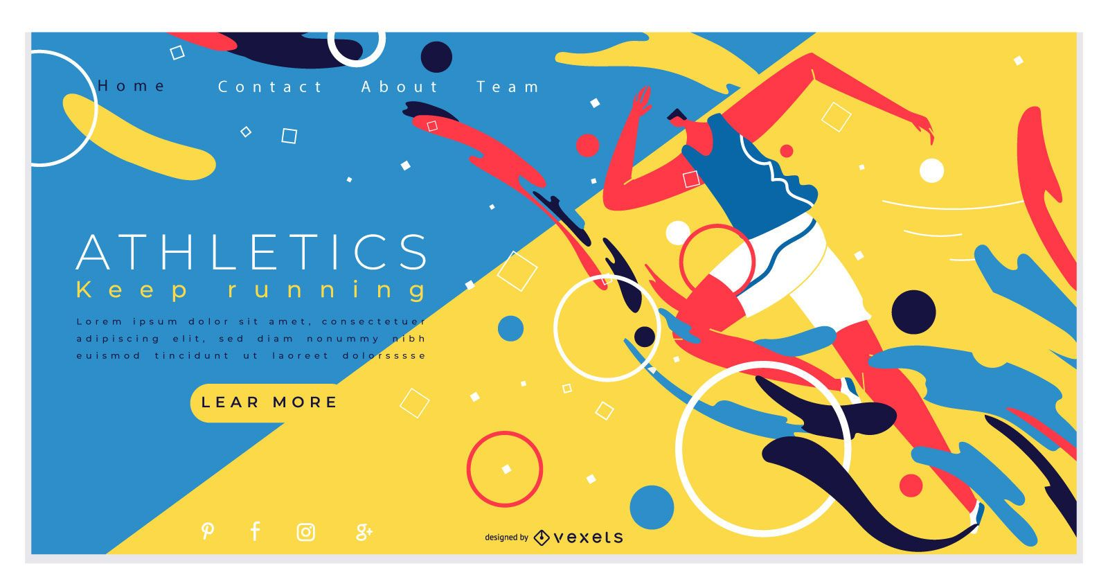 Diseño de página de destino de atletismo deportivo