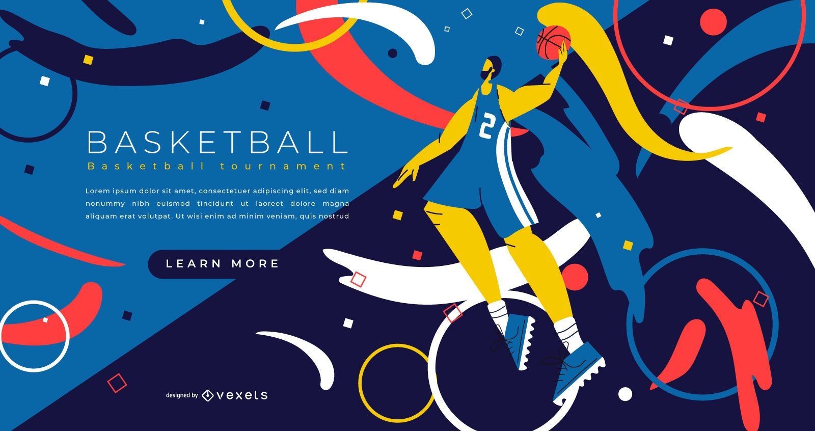 Design da página inicial de esportes de basquete