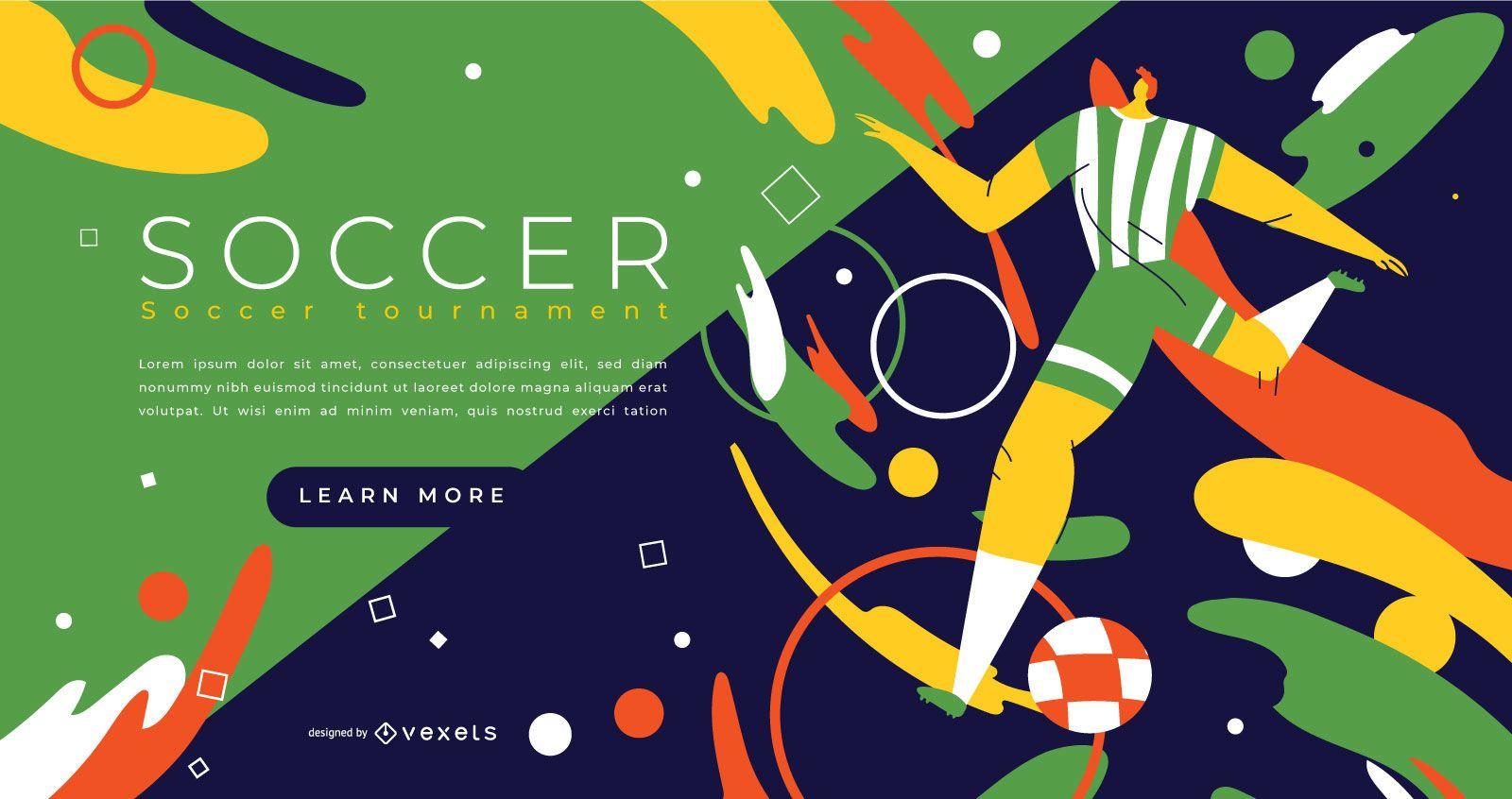 Design da página inicial de esportes de futebol