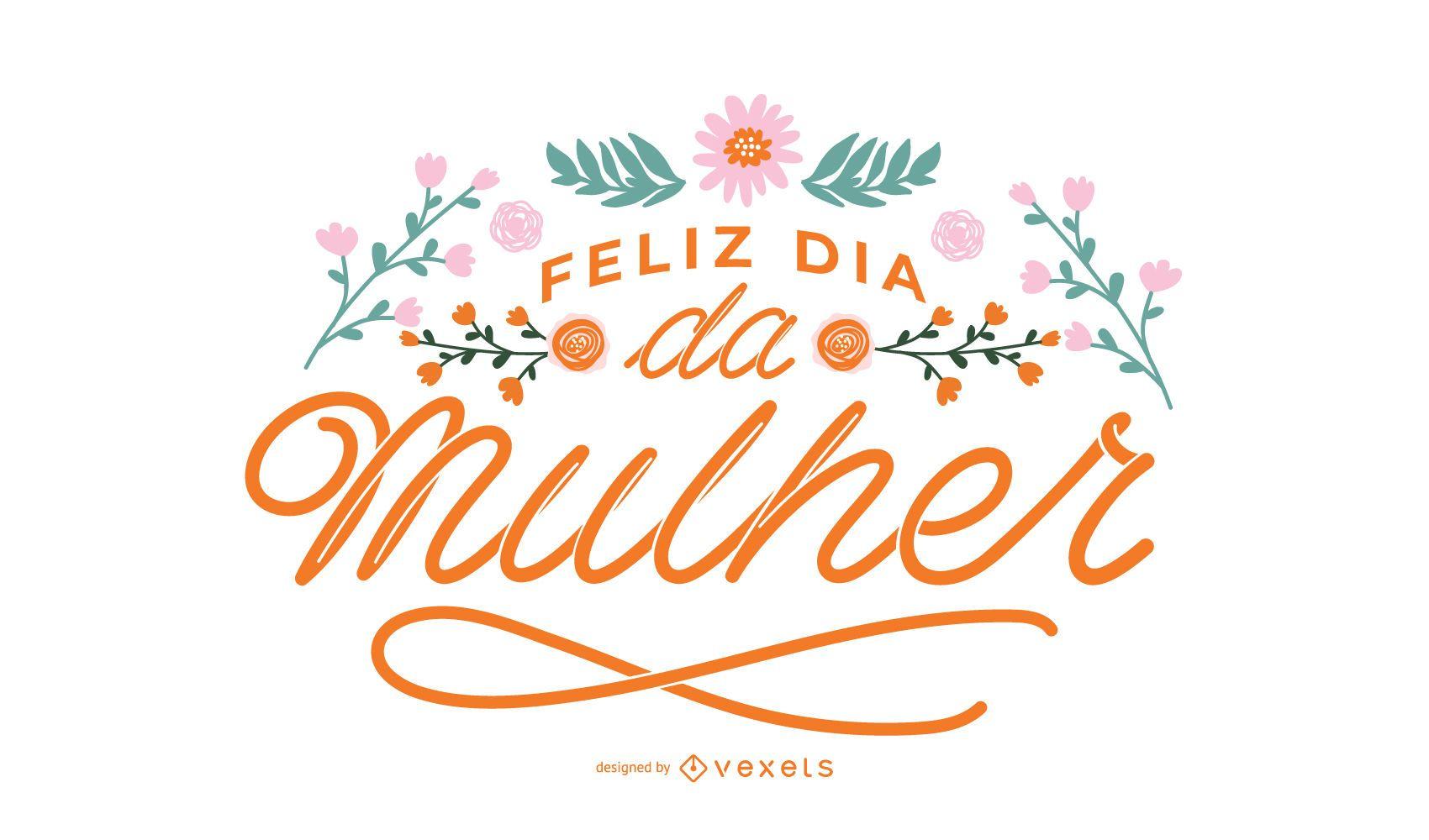 Happy women's day portuguese lettering