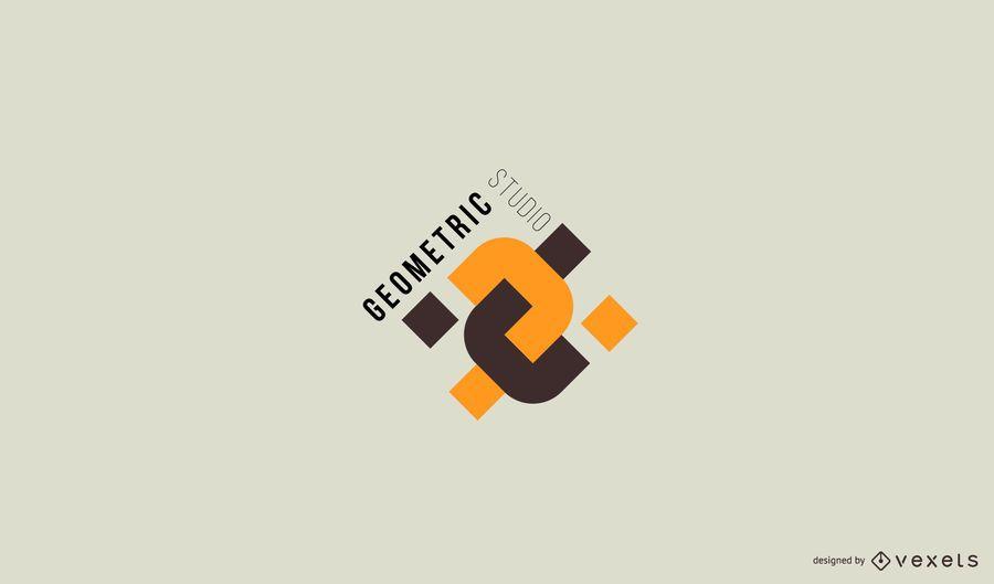 Diseño de logotipo de estudio geométrico abstracto