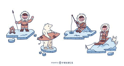 Cute Eskimo Characters Design Set