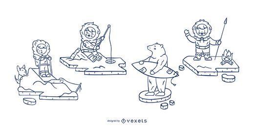 Eskimo characters stroke set