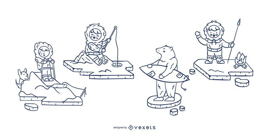 Strichsatz für Eskimo-Zeichen