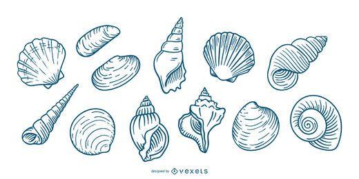 Conjunto de conchas marinas dibujadas a mano