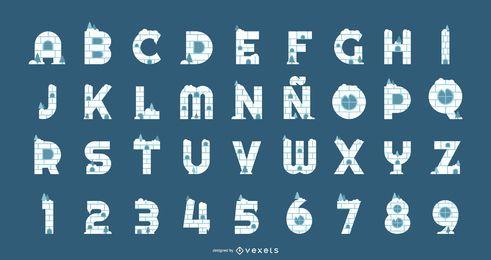Conjunto de alfabeto e números de iglu