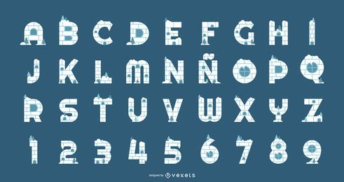 Iglu Alphabet und Zahlen eingestellt