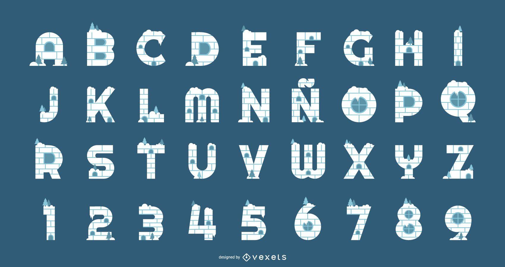 Conjunto de alfabeto y números de iglú