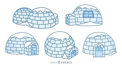 Conjunto de ilustración de iglúes