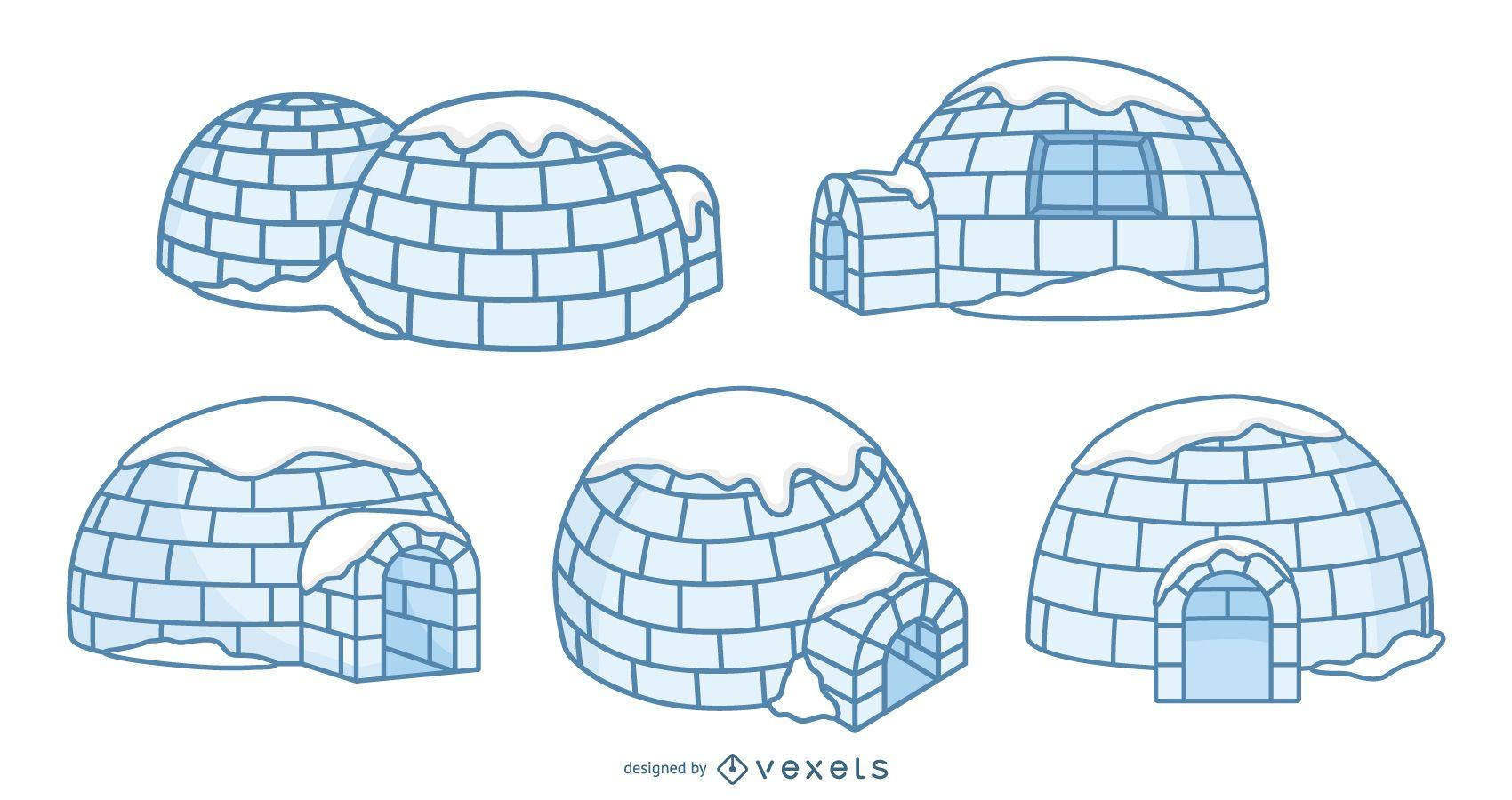 Igloos illustration set