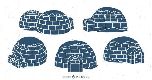 Conjunto de ilustración azul de iglúes