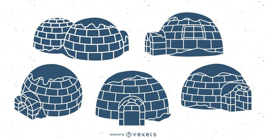 Igloos illustration blue set
