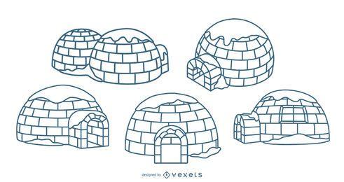 Igloos illustrations stroke set