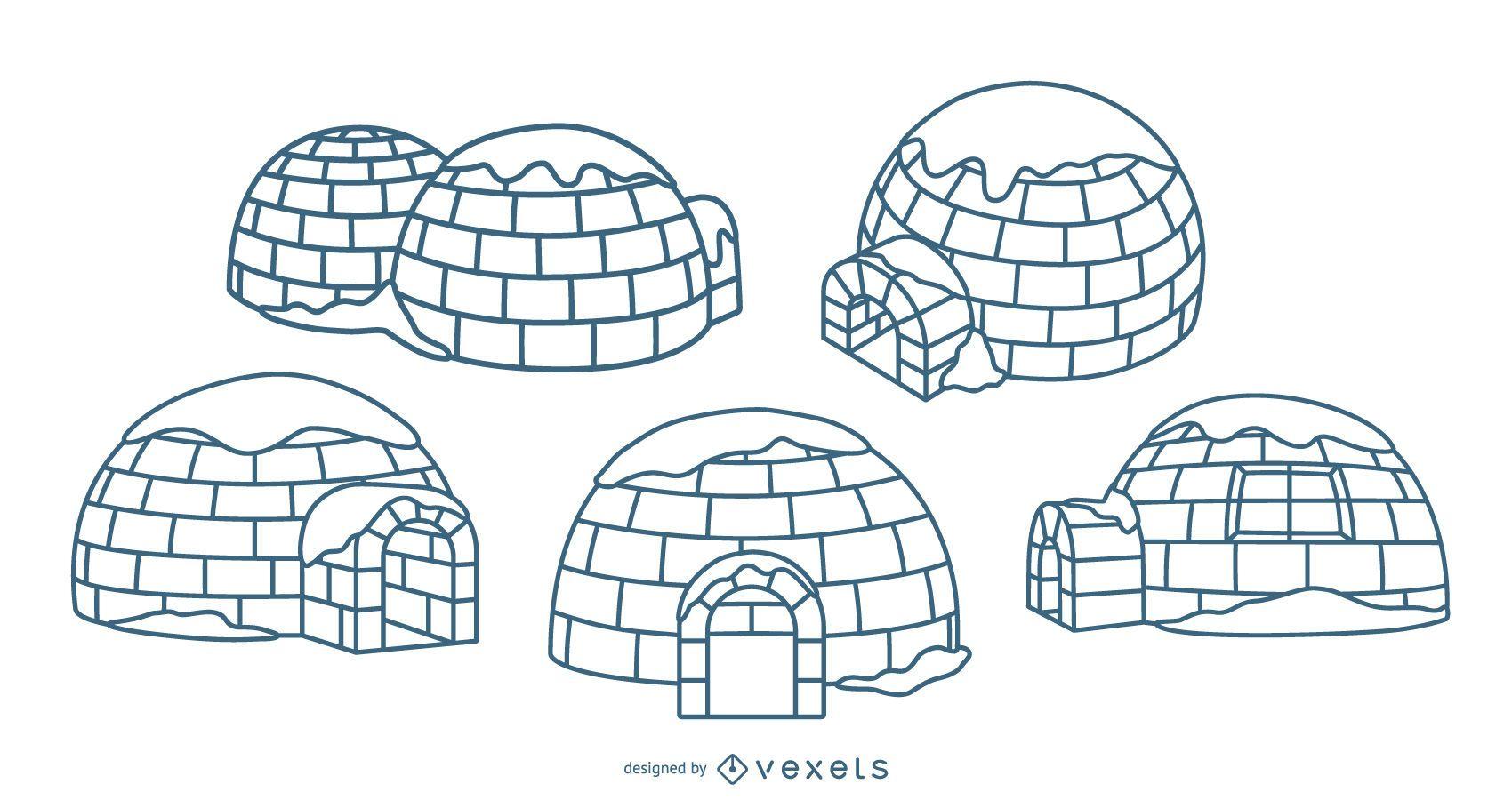 Conjunto de trazos de ilustraciones de iglús