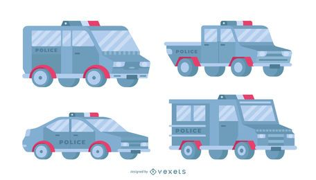 Police cars flat set