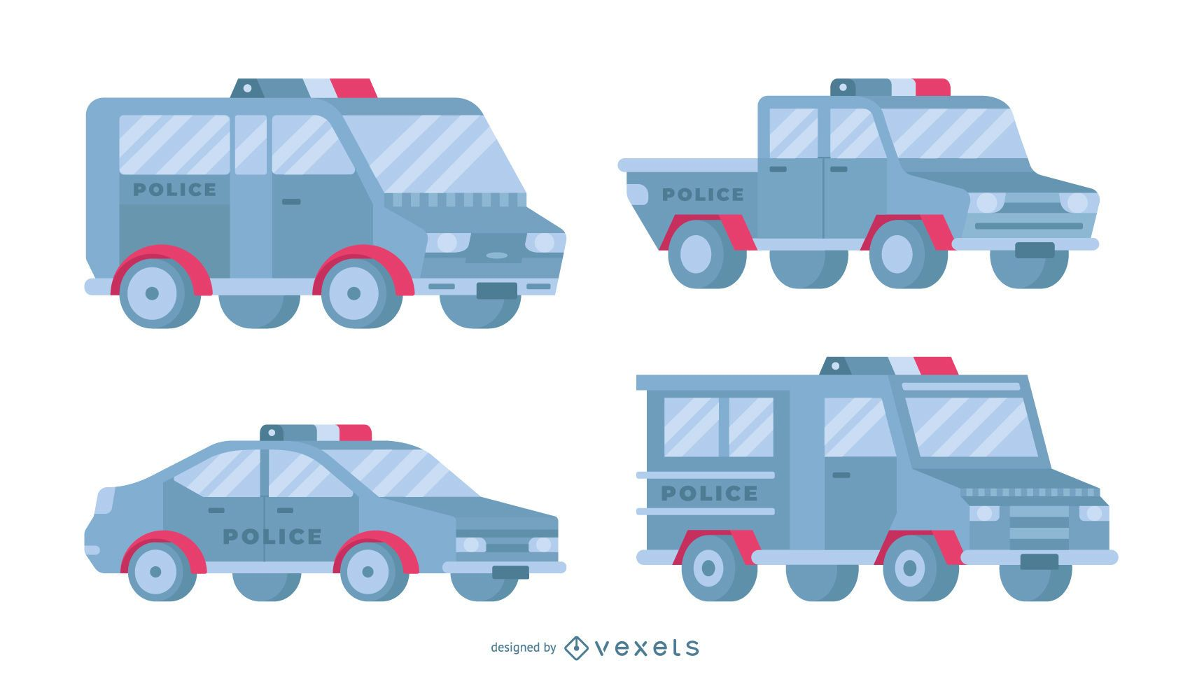 Conjunto plano de coches de policía