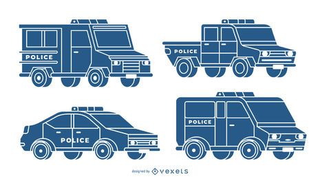 Conjunto azul de coches de policía