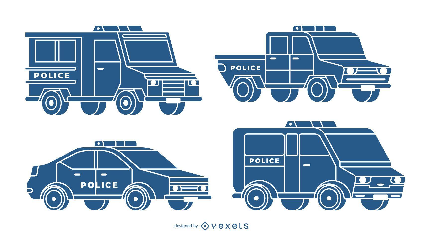Conjunto de coches de policía azul