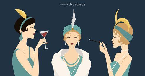 Conjunto de ilustração de mulheres vintage dos anos 20