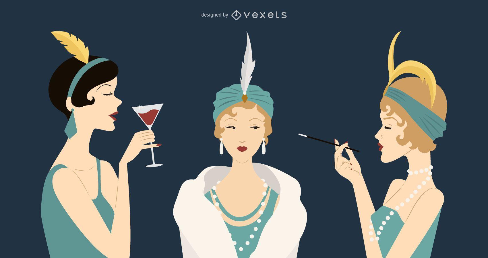 Conjunto de ilustración de mujeres vintage de los años 20