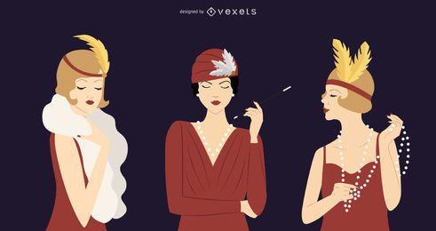 Pacote de ilustração de mulheres dos anos 20