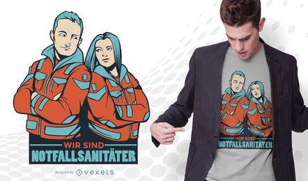 Diseño de camiseta de cita de paramédicos alemanes