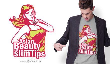 Projeto asiático do t-shirt das citações da beleza da menina