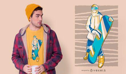 Diseño de camiseta de personas de snowboarder