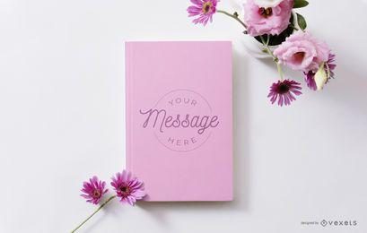Maquete floral de livro